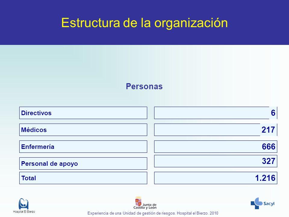 Hospital El Bierzo Experiencia de una Unidad de gestión de riesgos. Hospital el Bierzo. 2010 Estructura de la organización Personas Directivos Médicos