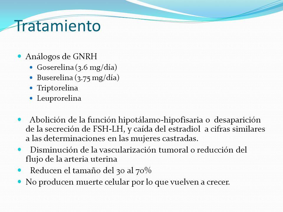 Análogos de GNRH Goserelina (3.6 mg/día) Buserelina (3.75 mg/día) Triptorelina Leuprorelina Abolición de la función hipotálamo-hipofisaria o desaparic