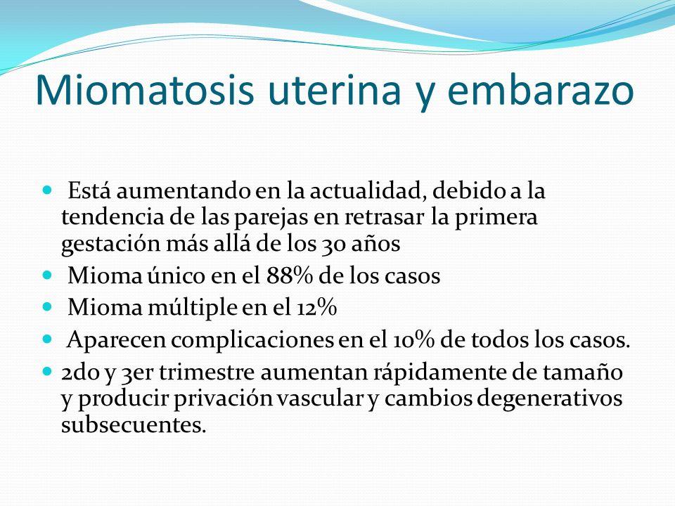 Miomatosis uterina y embarazo Está aumentando en la actualidad, debido a la tendencia de las parejas en retrasar la primera gestación más allá de los