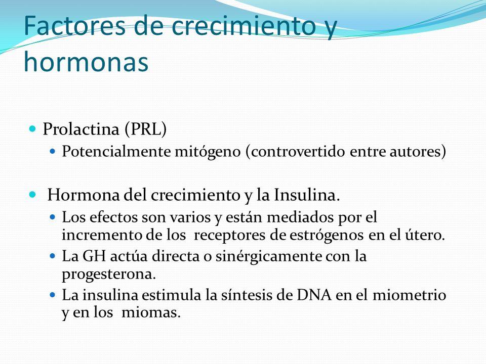 Factores de crecimiento y hormonas Prolactina (PRL) Potencialmente mitógeno (controvertido entre autores) Hormona del crecimiento y la Insulina. Los e