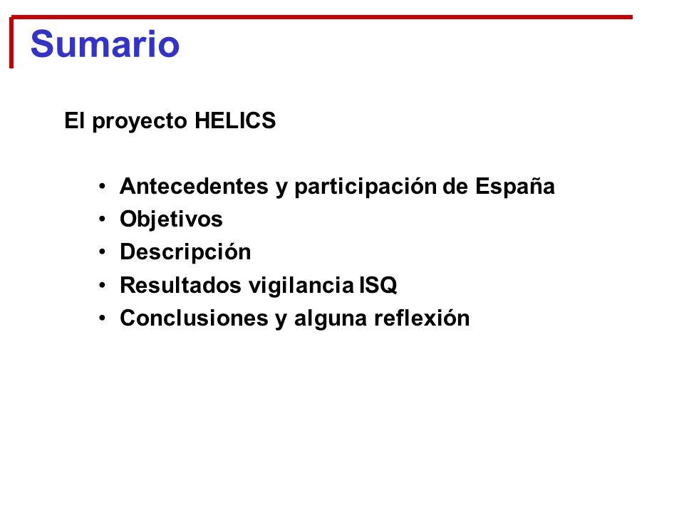 El proyecto HELICS Antecedentes y participación de España Objetivos Descripción Resultados vigilancia ISQ Conclusiones y alguna reflexión Sumario