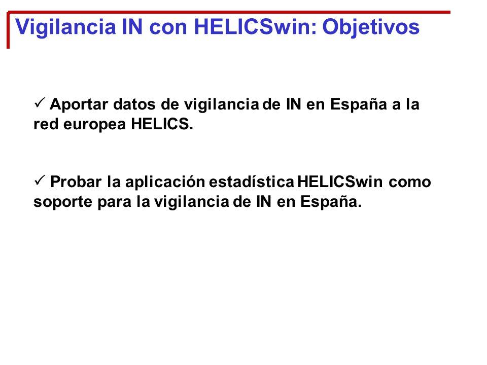 Vigilancia IN con HELICSwin: Objetivos Aportar datos de vigilancia de IN en España a la red europea HELICS.