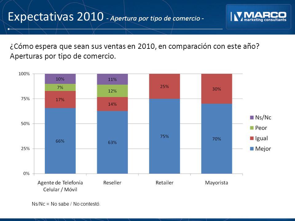 Expectativas 2010 - Apertura por tipo de comercio - ¿Cómo espera que sean sus ventas en 2010, en comparación con este año? Aperturas por tipo de comer