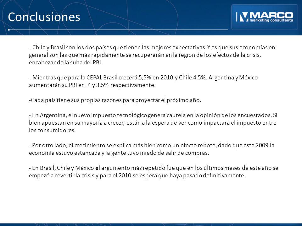 Conclusiones - Chile y Brasil son los dos países que tienen las mejores expectativas. Y es que sus economías en general son las que más rápidamente se