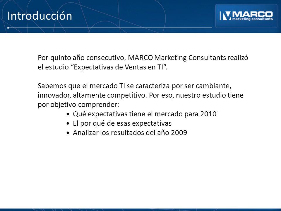 Introducción Por quinto año consecutivo, MARCO Marketing Consultants realizó el estudio Expectativas de Ventas en TI. Sabemos que el mercado TI se car