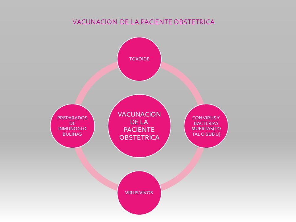 TOXOIDE CON VIRUS Y BACTERIAS MUERTAS(TO TAL O SUB U) VIRUS VIVOS PREPARADOS DE INMUNOGLO BULINAS