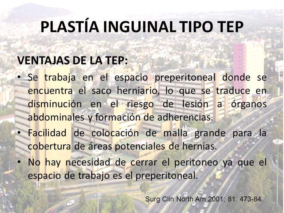 VENTAJAS DE LA TEP: Se trabaja en el espacio preperitoneal donde se encuentra el saco herniario, lo que se traduce en disminución en el riesgo de lesi