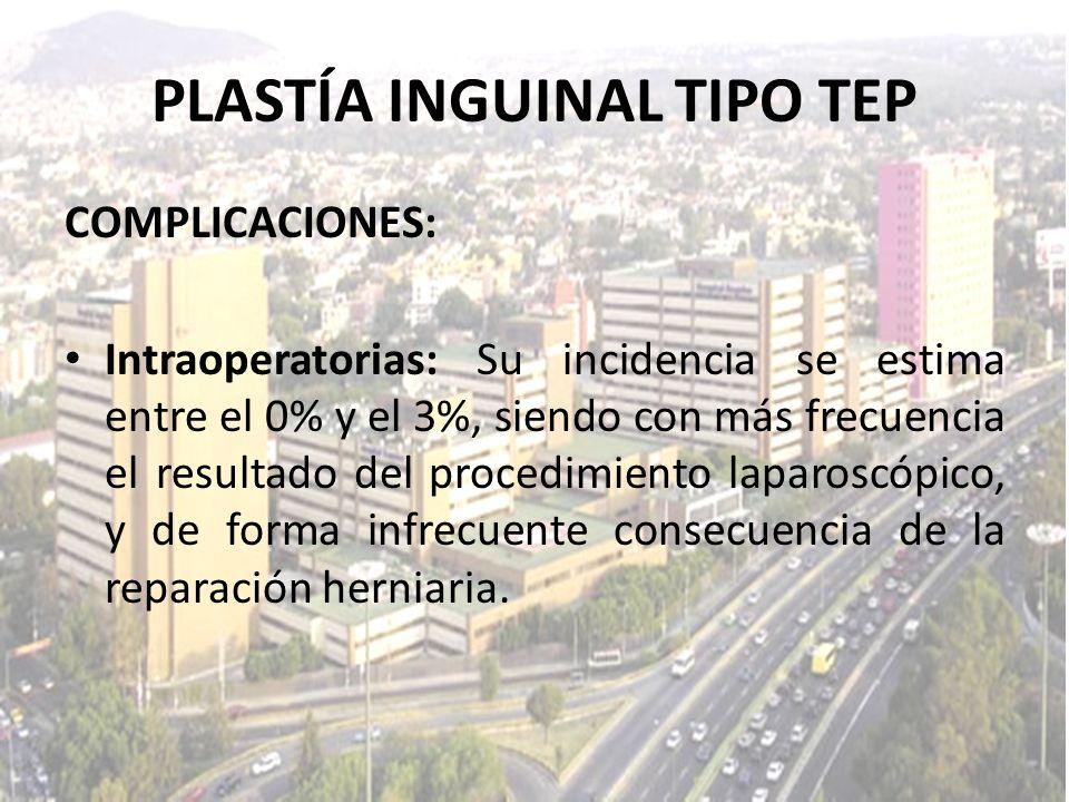 COMPLICACIONES: Intraoperatorias: Su incidencia se estima entre el 0% y el 3%, siendo con más frecuencia el resultado del procedimiento laparoscópico,