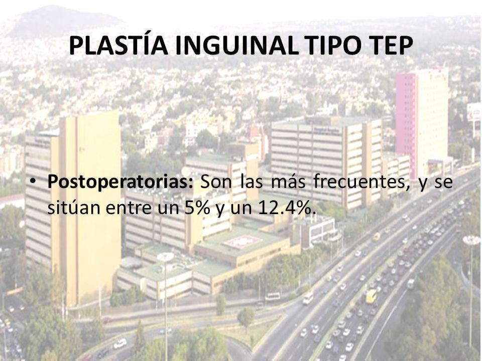 Postoperatorias: Son las más frecuentes, y se sitúan entre un 5% y un 12.4%. PLASTÍA INGUINAL TIPO TEP