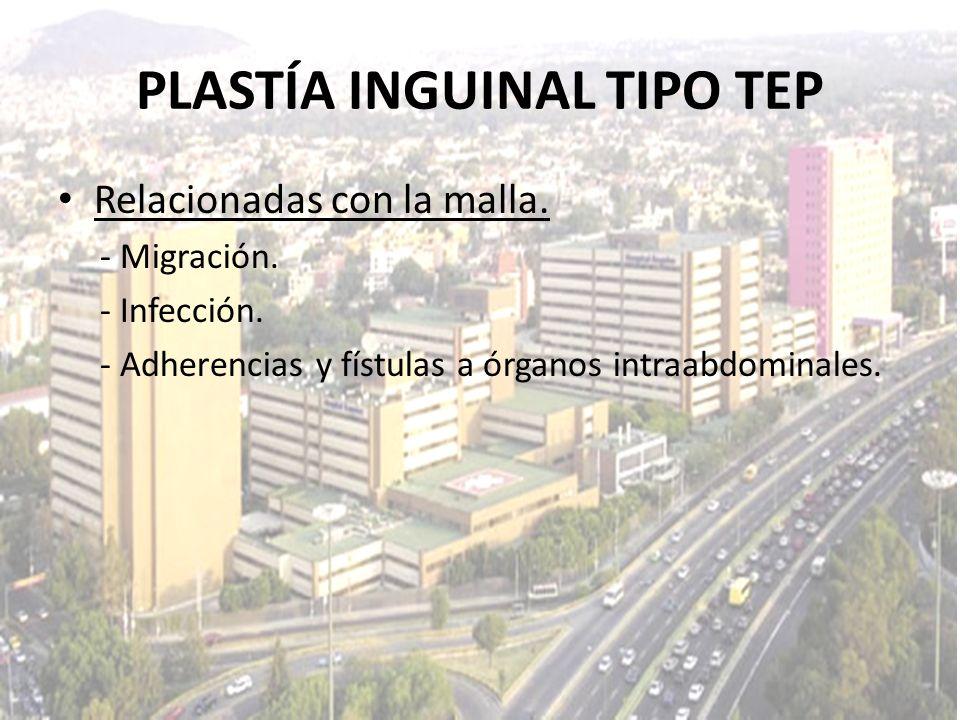 Relacionadas con la malla. - Migración. - Infección. - Adherencias y fístulas a órganos intraabdominales. PLASTÍA INGUINAL TIPO TEP