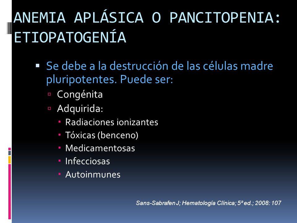 ANEMIA APLÁSICA O PANCITOPENIA: ETIOPATOGENÍA Se debe a la destrucción de las células madre pluripotentes. Puede ser: Congénita Adquirida: Radiaciones