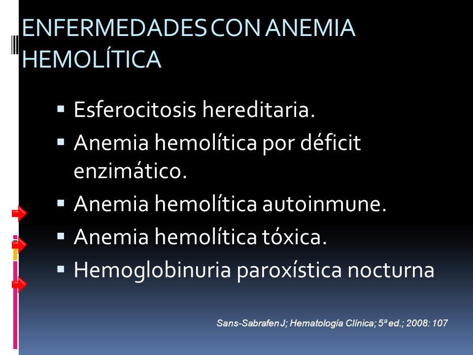 ENFERMEDADES CON ANEMIA HEMOLÍTICA Esferocitosis hereditaria. Anemia hemolítica por déficit enzimático. Anemia hemolítica autoinmune. Anemia hemolític