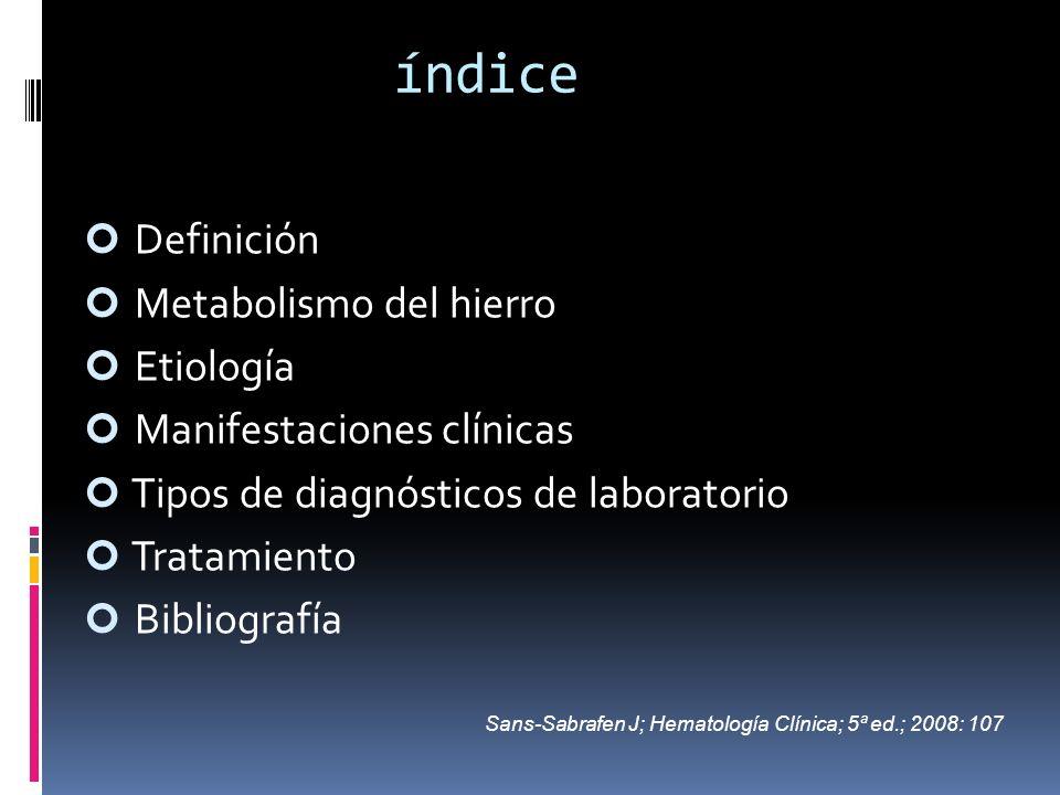 índice Definición Metabolismo del hierro Etiología Manifestaciones clínicas Tipos de diagnósticos de laboratorio Tratamiento Bibliografía Sans-Sabrafe