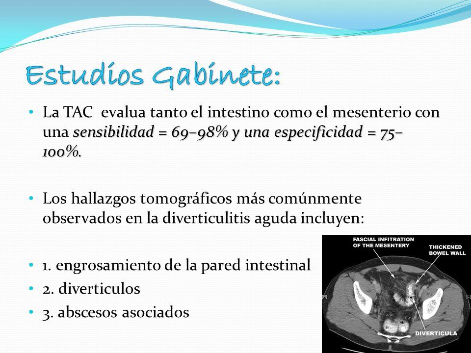 sensibilidad = 69–98% y una especificidad = 75– 100%. La TAC evalua tanto el intestino como el mesenterio con una sensibilidad = 69–98% y una especifi