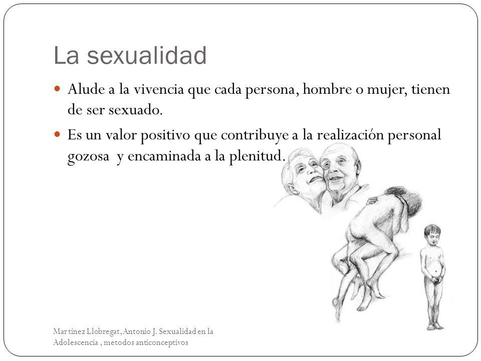 La sexualidad Martinez Llobregat, Antonio J. Sexualidad en la Adolescencia, metodos anticonceptivos Alude a la vivencia que cada persona, hombre o muj