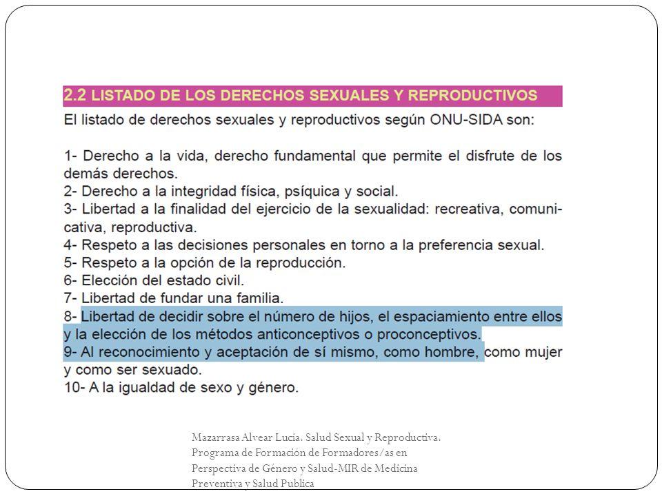 Mazarrasa Alvear Lucia. Salud Sexual y Reproductiva. Programa de Formación de Formadores/as en Perspectiva de Género y Salud-MIR de Medicina Preventiv