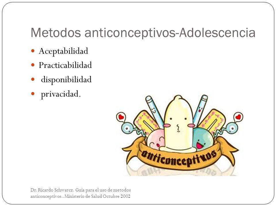 Metodos anticonceptivos-Adolescencia Dr. Ricardo Schwarcz. Guia para el uso de metodos anticonceptivos..Ministerio de Salud Octubre 2002 Aceptabilidad