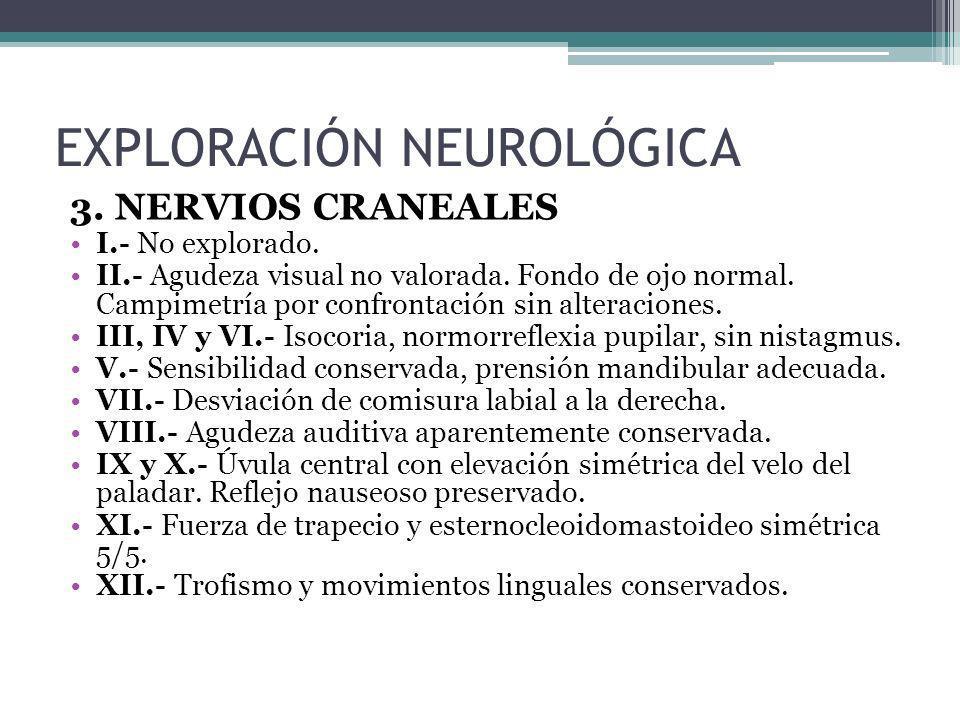 3. NERVIOS CRANEALES I.- No explorado. II.- Agudeza visual no valorada. Fondo de ojo normal. Campimetría por confrontación sin alteraciones. III, IV y