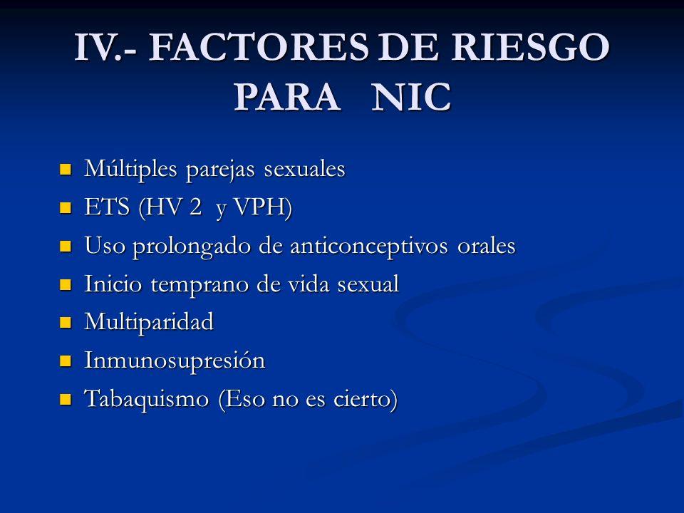 IV.- FACTORES DE RIESGO PARA NIC Múltiples parejas sexuales Múltiples parejas sexuales ETS (HV 2 y VPH) ETS (HV 2 y VPH) Uso prolongado de anticoncept
