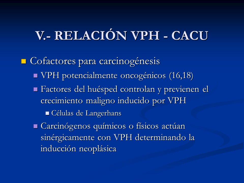 V.- RELACIÓN VPH - CACU Cofactores para carcinogénesis Cofactores para carcinogénesis VPH potencialmente oncogénicos (16,18) VPH potencialmente oncogé