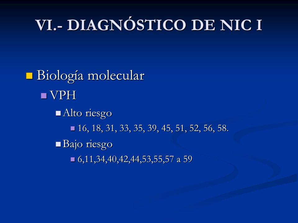 Biología molecular Biología molecular VPH VPH Alto riesgo Alto riesgo 16, 18, 31, 33, 35, 39, 45, 51, 52, 56, 58. 16, 18, 31, 33, 35, 39, 45, 51, 52,