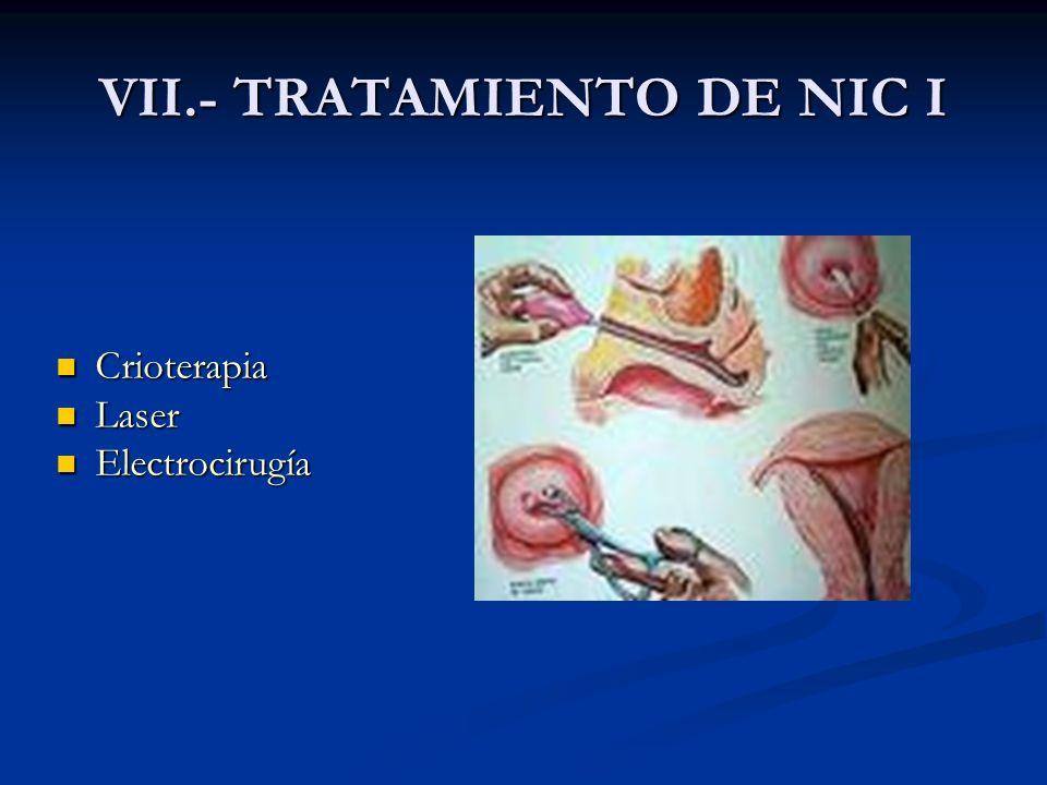 VII.- TRATAMIENTO DE NIC I Crioterapia Crioterapia Laser Laser Electrocirugía Electrocirugía