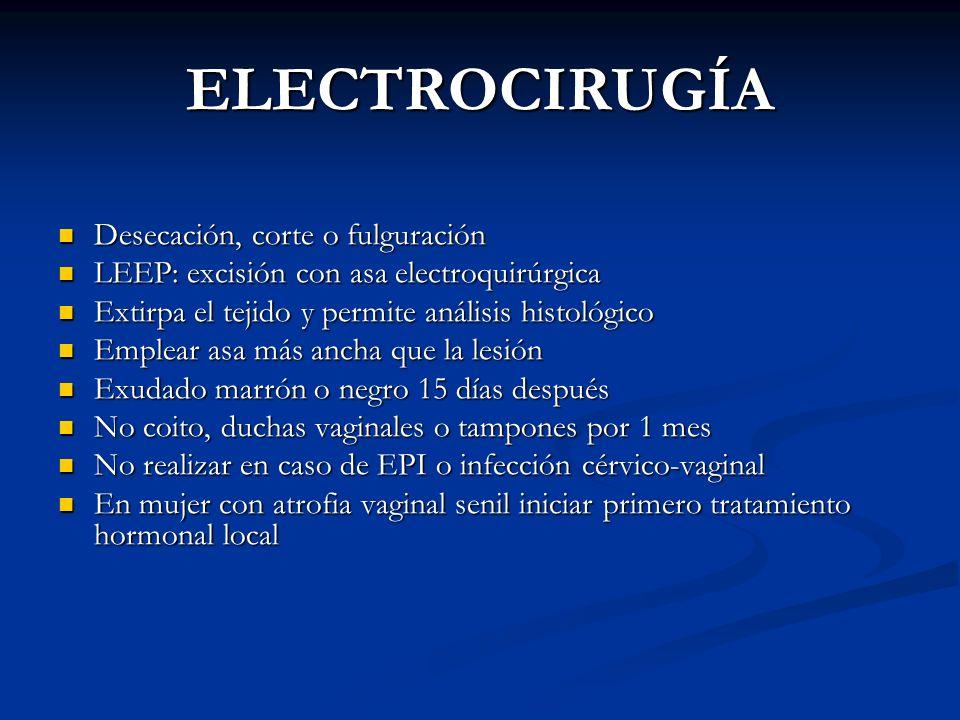 ELECTROCIRUGÍA Desecación, corte o fulguración Desecación, corte o fulguración LEEP: excisión con asa electroquirúrgica LEEP: excisión con asa electro