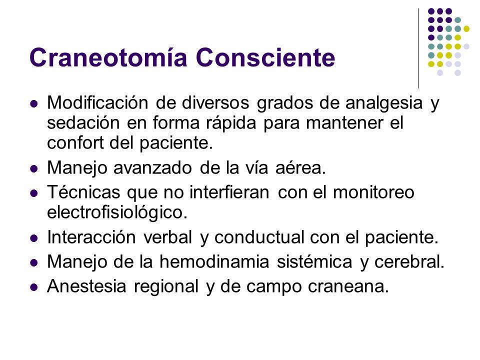 Craneotomía Consciente Modificación de diversos grados de analgesia y sedación en forma rápida para mantener el confort del paciente. Manejo avanzado