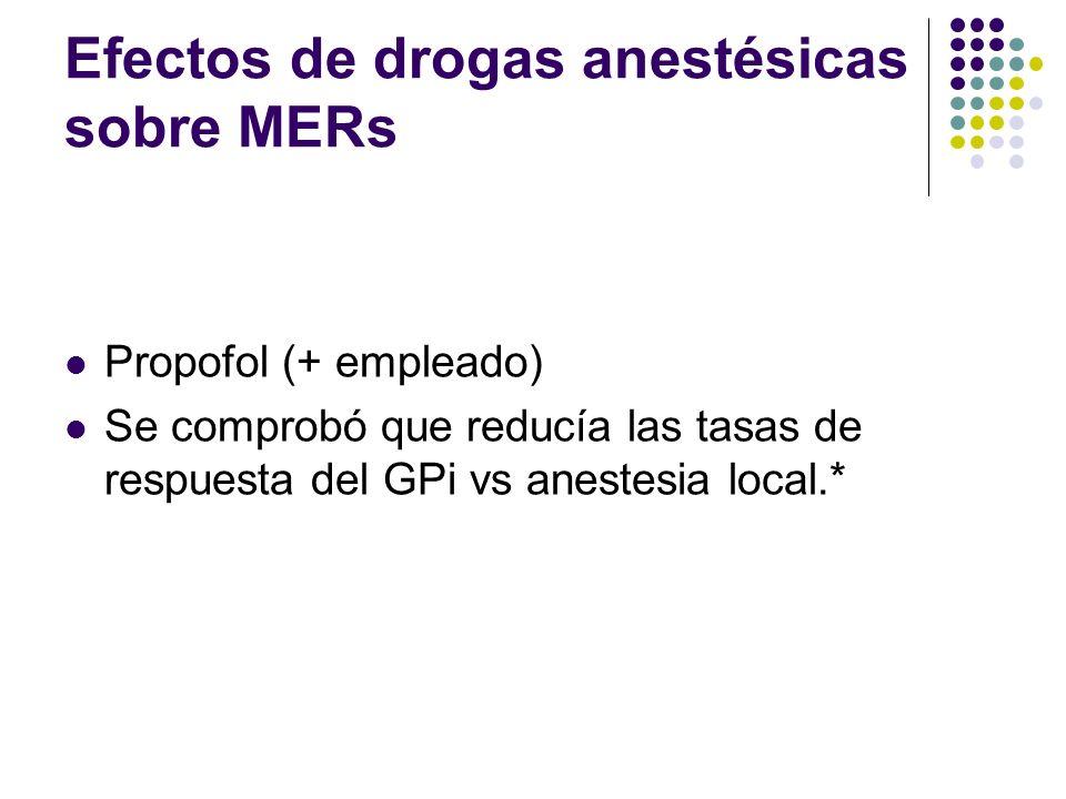 Efectos de drogas anestésicas sobre MERs Propofol (+ empleado) Se comprobó que reducía las tasas de respuesta del GPi vs anestesia local.*