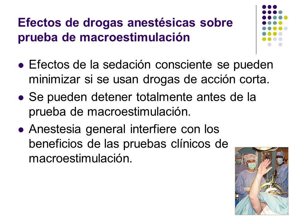 Efectos de drogas anestésicas sobre prueba de macroestimulación Efectos de la sedación consciente se pueden minimizar si se usan drogas de acción cort