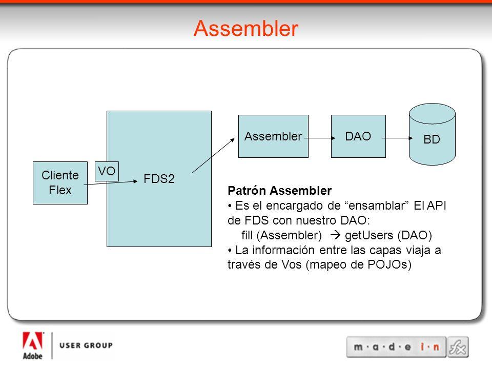 Assembler DAO BD FDS2 Cliente Flex VO Patrón Assembler Es el encargado de ensamblar El API de FDS con nuestro DAO: fill (Assembler) getUsers (DAO) La información entre las capas viaja a través de Vos (mapeo de POJOs)