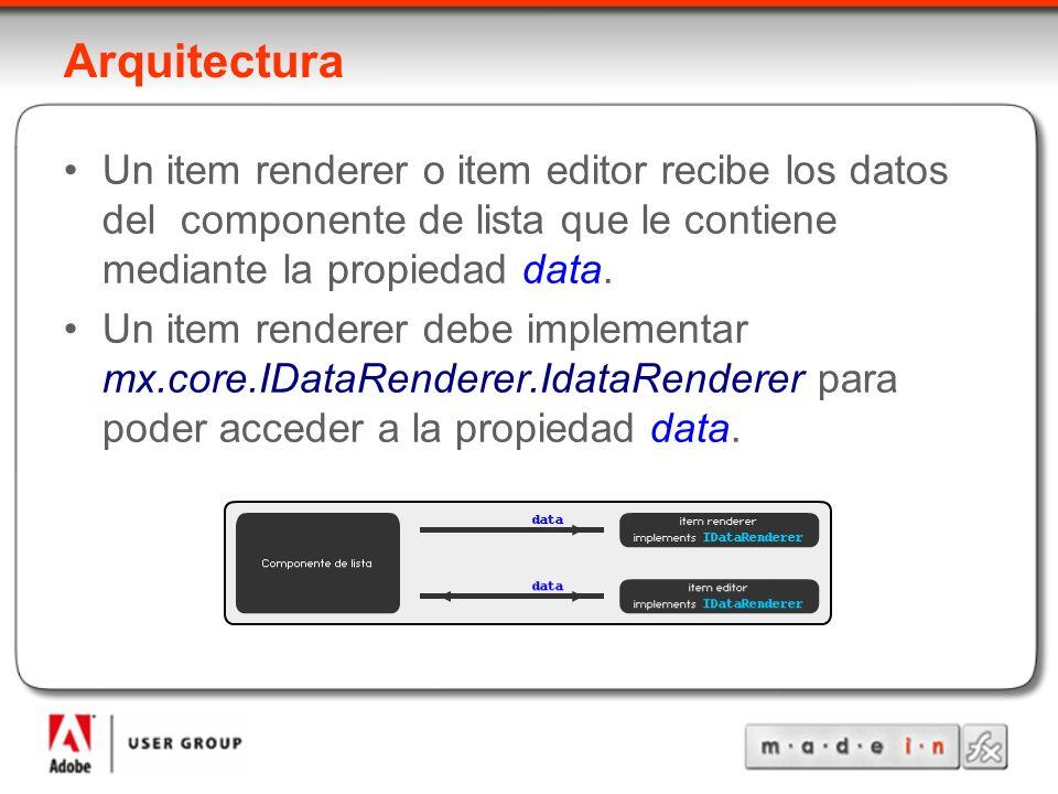 Arquitectura Un item renderer o item editor recibe los datos del componente de lista que le contiene mediante la propiedad data.