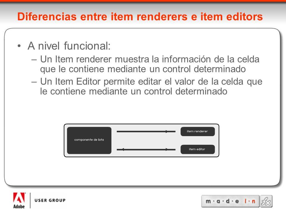 Diferencias entre item renderers e item editors A nivel funcional: –Un Item renderer muestra la información de la celda que le contiene mediante un control determinado –Un Item Editor permite editar el valor de la celda que le contiene mediante un control determinado
