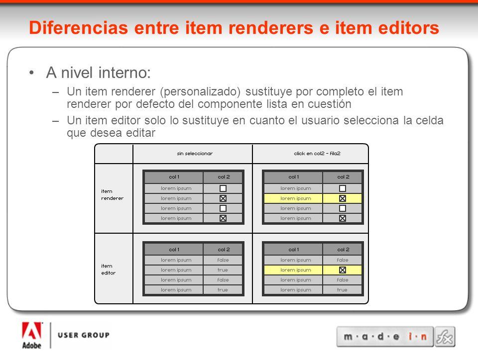 Diferencias entre item renderers e item editors A nivel interno: –Un item renderer (personalizado) sustituye por completo el item renderer por defecto del componente lista en cuestión –Un item editor solo lo sustituye en cuanto el usuario selecciona la celda que desea editar