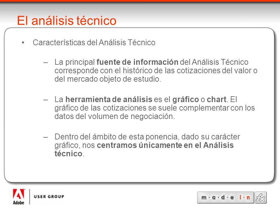 El análisis técnico Características del Análisis Técnico –La principal fuente de información del Análisis Técnico corresponde con el histórico de las