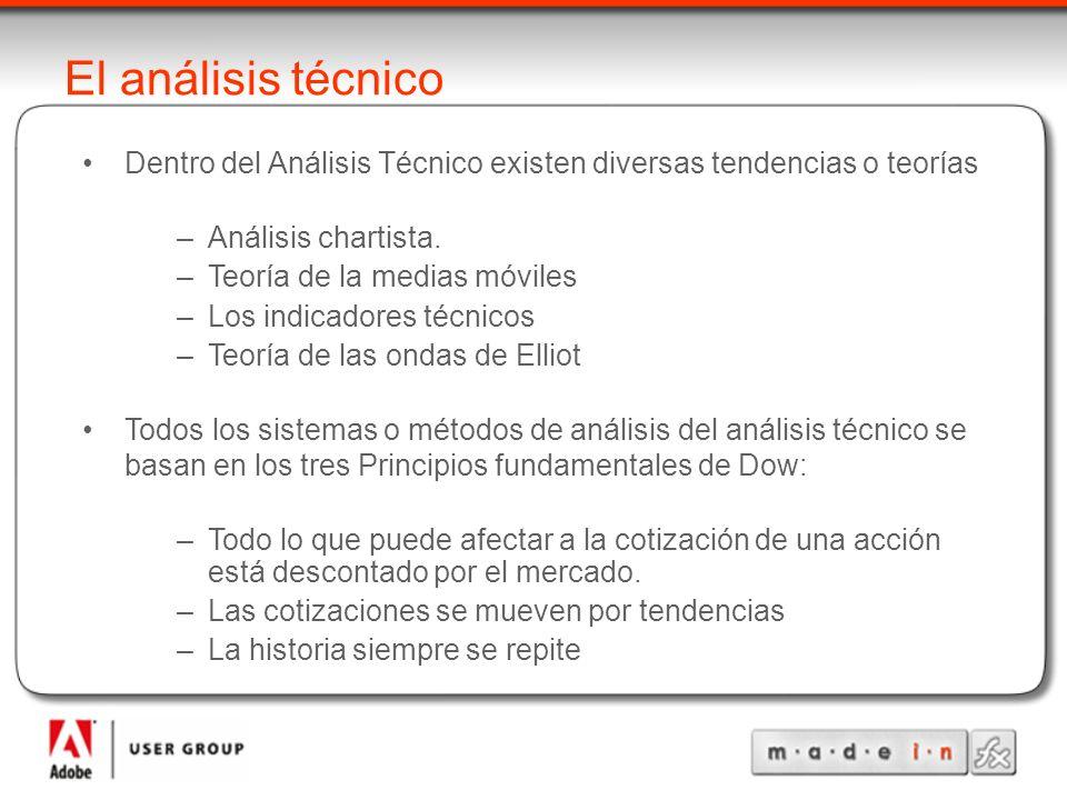 El análisis técnico Dentro del Análisis Técnico existen diversas tendencias o teorías –Análisis chartista. –Teoría de la medias móviles –Los indicador