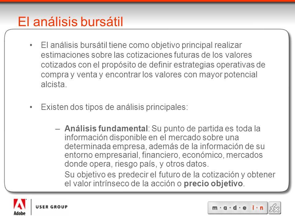 El análisis bursátil –Análisis técnico: Se basa en el estudio de la evolución temporal de las cotizaciones de las acciones y de los mercados a partir de su representación gráfica.