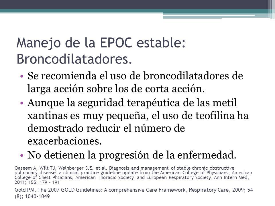 Manejo de la EPOC estable: Broncodilatadores. Se recomienda el uso de broncodilatadores de larga acción sobre los de corta acción. Aunque la seguridad
