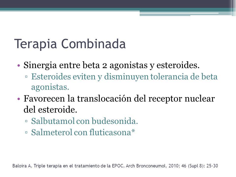 Terapia Combinada Sinergia entre beta 2 agonistas y esteroides. Esteroides eviten y disminuyen tolerancia de beta agonistas. Favorecen la translocació