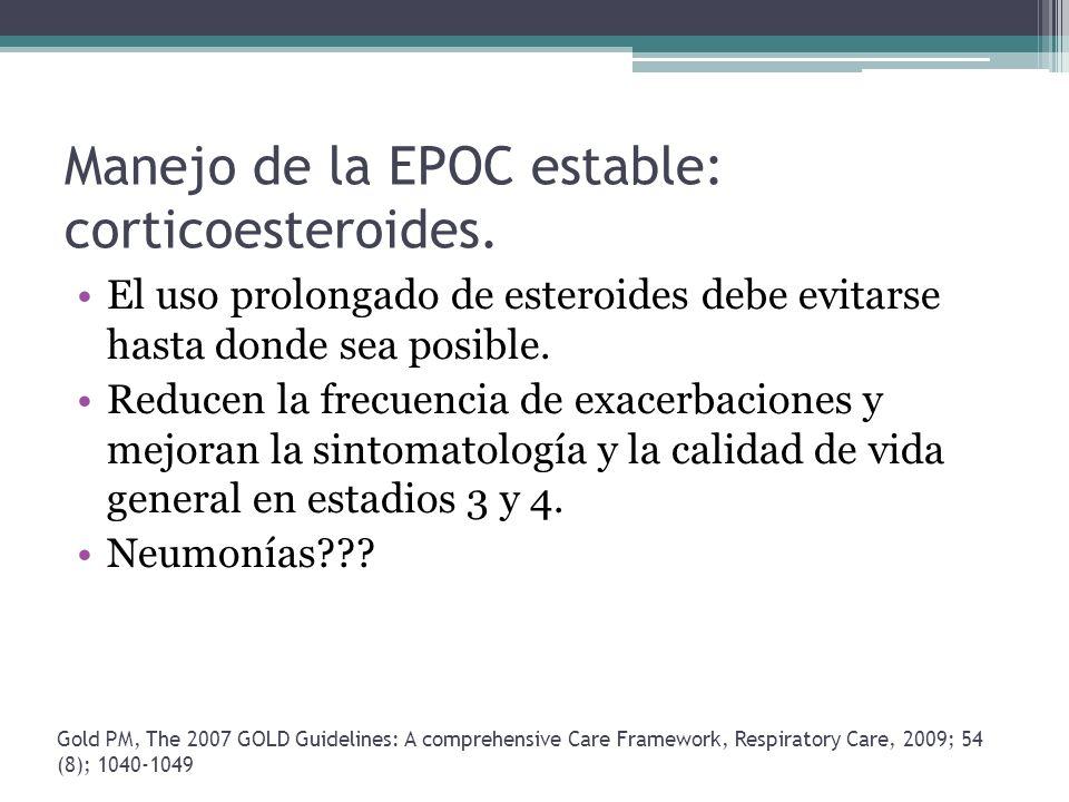 Manejo de la EPOC estable: corticoesteroides. El uso prolongado de esteroides debe evitarse hasta donde sea posible. Reducen la frecuencia de exacerba
