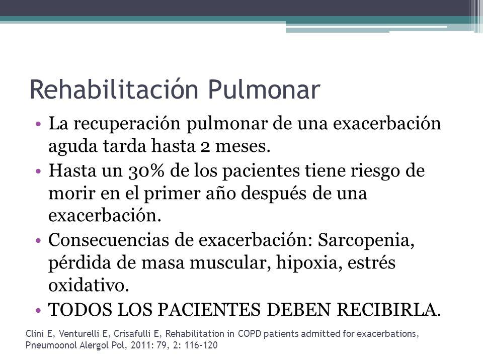 Rehabilitación Pulmonar La recuperación pulmonar de una exacerbación aguda tarda hasta 2 meses. Hasta un 30% de los pacientes tiene riesgo de morir en
