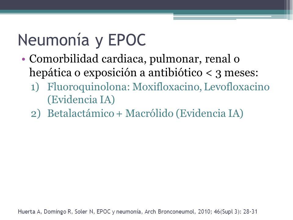 Neumonía y EPOC Comorbilidad cardiaca, pulmonar, renal o hepática o exposición a antibiótico < 3 meses: 1)Fluoroquinolona: Moxifloxacino, Levofloxacin