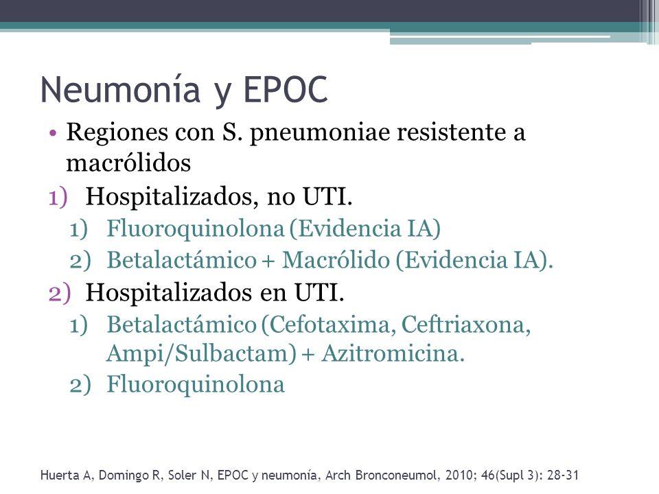Neumonía y EPOC Regiones con S. pneumoniae resistente a macrólidos 1)Hospitalizados, no UTI. 1)Fluoroquinolona (Evidencia IA) 2)Betalactámico + Macról