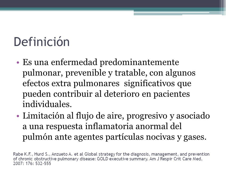 Definición Es una enfermedad predominantemente pulmonar, prevenible y tratable, con algunos efectos extra pulmonares significativos que pueden contrib