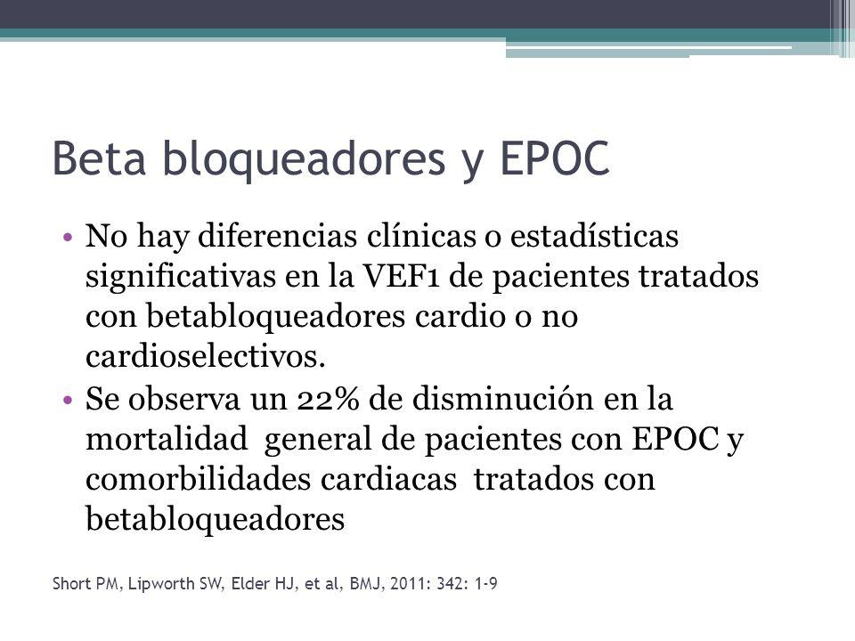Beta bloqueadores y EPOC No hay diferencias clínicas o estadísticas significativas en la VEF1 de pacientes tratados con betabloqueadores cardio o no c