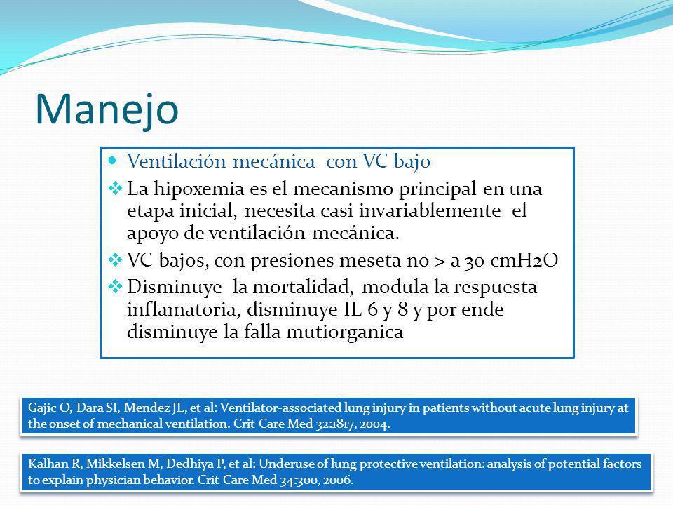 Manejo Ventilación mecánica con VC bajo La hipoxemia es el mecanismo principal en una etapa inicial, necesita casi invariablemente el apoyo de ventila