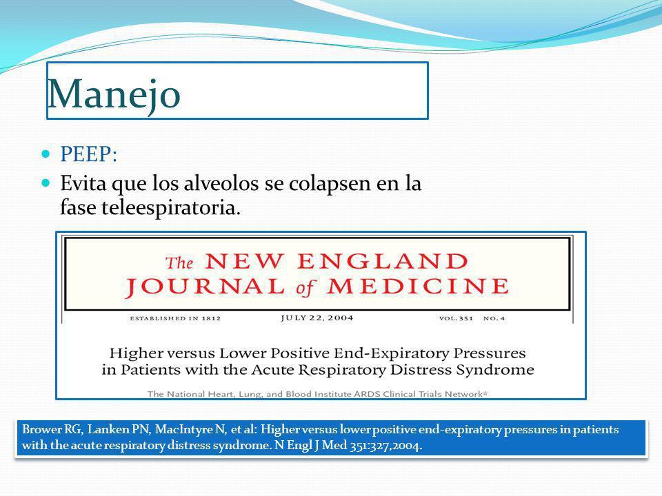 Manejo PEEP: Evita que los alveolos se colapsen en la fase teleespiratoria. Brower RG, Lanken PN, MacIntyre N, et al: Higher versus lower positive end