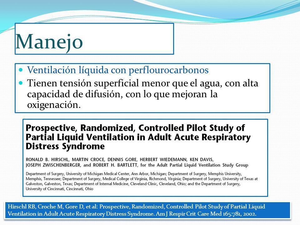 Manejo Ventilación líquida con perflourocarbonos Tienen tensión superficial menor que el agua, con alta capacidad de difusión, con lo que mejoran la o
