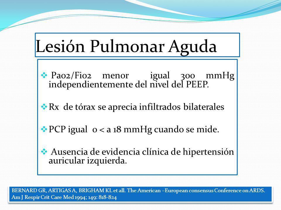 Lesión Pulmonar Aguda Pao2/Fio2 menor igual 300 mmHg independientemente del nivel del PEEP. Rx de tórax se aprecia infiltrados bilaterales PCP igual o