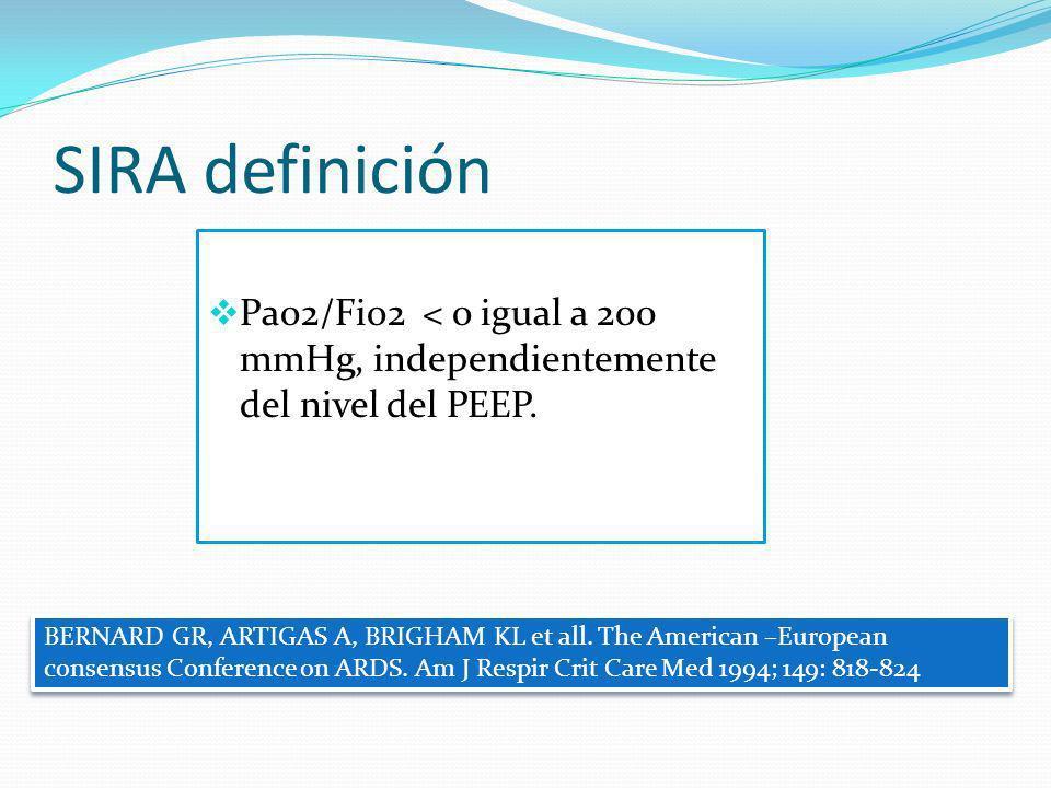 SIRA definición Pao2/Fio2 < o igual a 200 mmHg, independientemente del nivel del PEEP. BERNARD GR, ARTIGAS A, BRIGHAM KL et all. The American –Europea